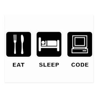 I eat, sleep and code postcard
