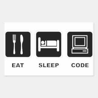 I eat, sleep and code rectangular sticker