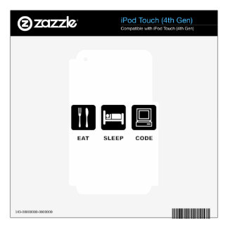 I eat, sleep and code skins for iPod touch 4G