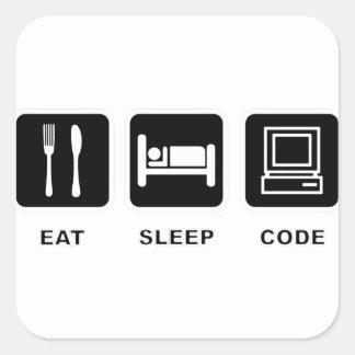 I eat, sleep and code square sticker