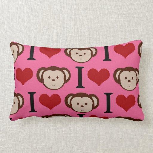 I el amor del rosa I del mono del corazón Monkeys  Cojines