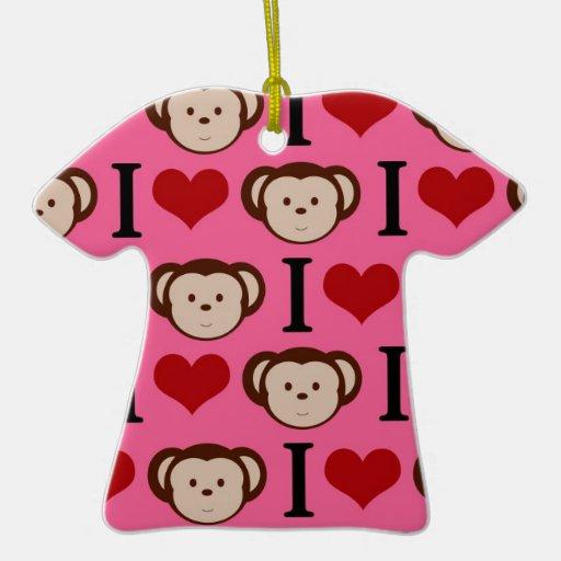 I el amor del rosa I del mono del corazón Monkeys Adornos De Navidad