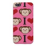 I el amor del rosa I del mono del corazón Monkeys  iPhone 5 Carcasa