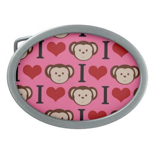 I el amor del rosa I del mono del corazón Monkeys  Hebilla De Cinturon