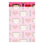 I el amor del rosa I del mono del corazón Monkeys  Papelería De Diseño