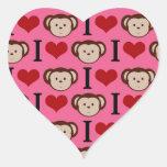 I el amor del rosa I del mono del corazón Monkeys Colcomanias De Corazon