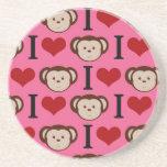 I el amor del rosa I del mono del corazón Monkeys  Posavasos Manualidades