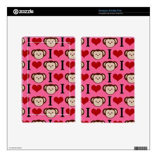 I el amor del rosa I del mono del corazón Monkeys  Kindle Fire Pegatina Skin