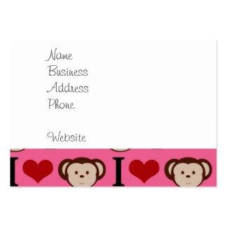I el amor del rosa I del mono del corazón Monkeys Plantilla De Tarjeta De Negocio
