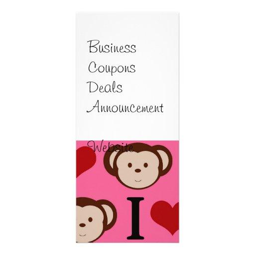 I el amor del rosa I del mono del corazón Monkeys  Tarjetas Publicitarias Personalizadas