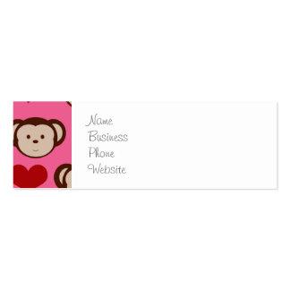 I el amor del rosa I del mono del corazón Monkeys Tarjetas De Visita Mini