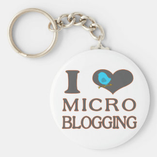 I el Blogging micro del corazón Llavero Redondo Tipo Pin