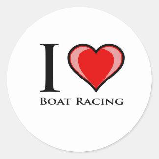 I el competir con de barco del amor pegatina redonda