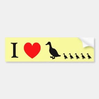 I el corazón Ducks a la pegatina para el parachoqu Pegatina Para Auto