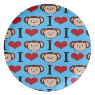 I el corazón Monkeys a tarjetas del día de San Val Plato