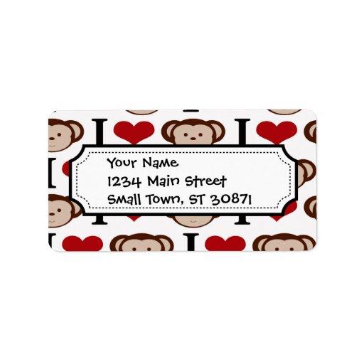 I el corazón Monkeys el regalo de las tarjetas del Etiqueta De Dirección