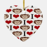 I el corazón Monkeys los regalos de las tarjetas d Adornos De Navidad