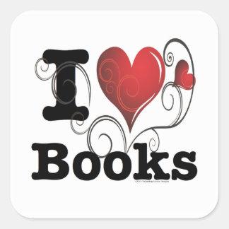 ¡I el corazón reserva los libros del amor de I! Calcomanía Cuadradas Personalizada