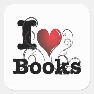 ¡I el corazón reserva los libros del amor de I! Pegatina Cuadradas