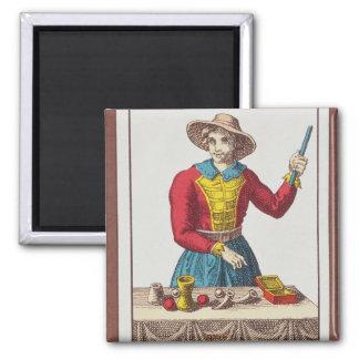 I el mago, siete cartas de tarot imán cuadrado