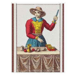 I el mago, siete cartas de tarot tarjeta postal