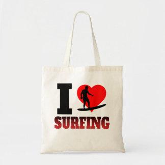 I el practicar surf del corazón bolsa tela barata