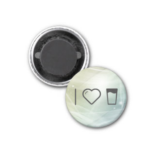 I el vidrio del corazón ordeña imán redondo 3 cm