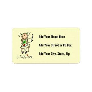 I Embroider Stick Figure Address Label