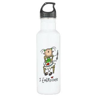 I Embroider Stick Figure 24oz Water Bottle