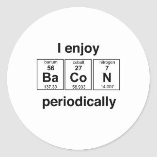 I Enjoy Bacon Periodically Classic Round Sticker