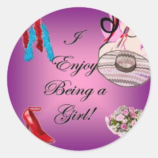 I Enjoy Being a Girl Classic Round Sticker