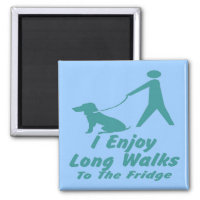 I enjoy long walks, dog walker humor. magnet