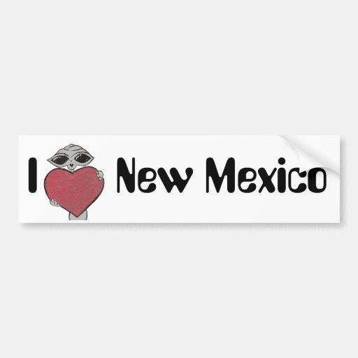 I extranjero de New México del corazón Etiqueta De Parachoque