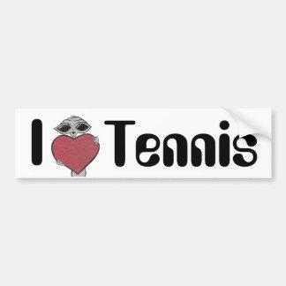 I extranjero del tenis del corazón etiqueta de parachoque