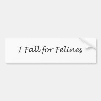 I Fall for Felines Car Bumper Sticker