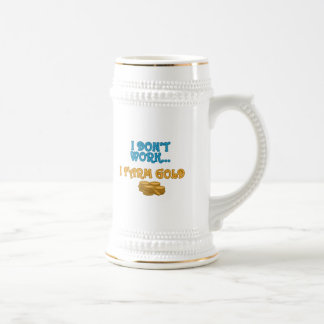I Farm Gold Beer Stein