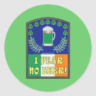 I Fear No Beer Round Stickers