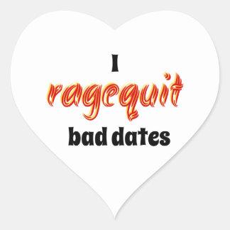 I fechas del malo de Ragequit Pegatina En Forma De Corazón