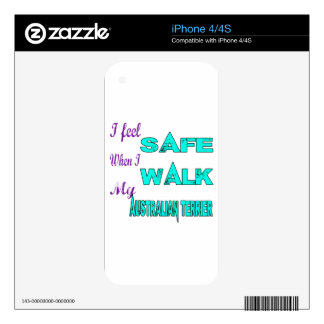 I Feel Safe With My Australian Terrier Decals For The iPhone 4