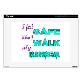 I Feel Safe With My English Springer Spaniel Laptop Decal