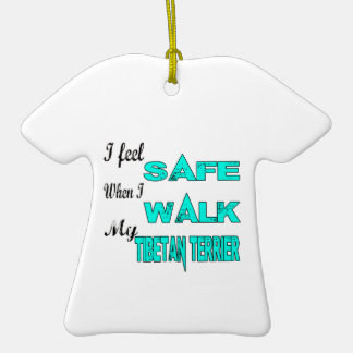 I Feel Safe With My Tibetan Terrier Double-Sided T-Shirt Ceramic Christmas Ornament