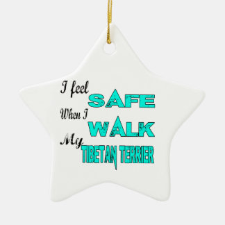 I Feel Safe With My Tibetan Terrier Double-Sided Star Ceramic Christmas Ornament
