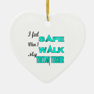 I Feel Safe With My Tibetan Terrier Double-Sided Heart Ceramic Christmas Ornament