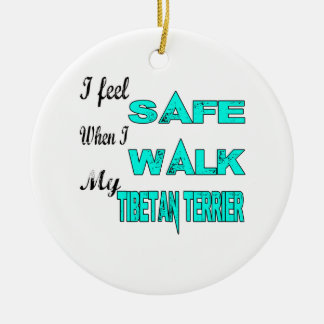 I Feel Safe With My Tibetan Terrier Double-Sided Ceramic Round Christmas Ornament