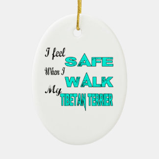 I Feel Safe With My Tibetan Terrier Double-Sided Oval Ceramic Christmas Ornament