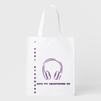 I feel stronger with my headphones on reusable grocery bag