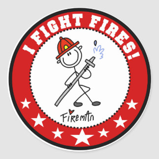 I Fight Fires Firefighter Classic Round Sticker