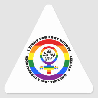 I Fight For LGBT Rights Triangle Sticker