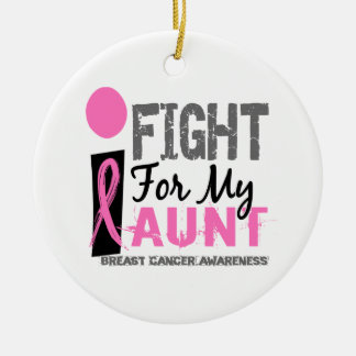 I Fight For My Aunt Breast Cancer Double-Sided Ceramic Round Christmas Ornament