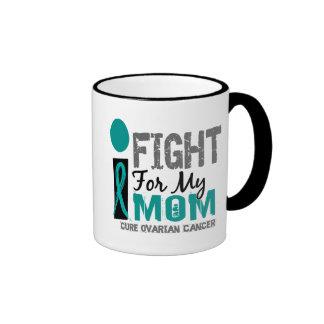 I Fight For My Mom Ovarian Cancer Ringer Coffee Mug